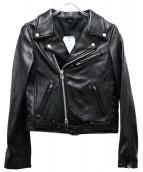 NINE(ナイン)の古着「ラムレザーダブルライダースジャケット」 ブラック