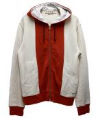 MARNI(マルニ)の古着「ロゴ配色ジップパーカー」|ベージュ×レッド
