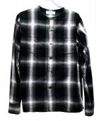 UNUSED(アンユーズド)の古着「ノーカラ-チェックシャツ」|グレー