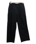 CLANE HOMME(クラネ オム)の古着「ハイカウントコットンパンツ」|ブラック