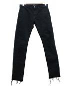 JohnUNDERCOVER(ジョンアンダーカバー)の古着「ストレッチカツラギリペアスリムパンツ」|ブラック