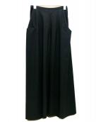 Ys(ワイズ)の古着「マキシフレアフロントポケットスカート」|ブラック