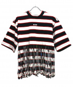 MSGM(エムエスジーエム)の古着「フリンジボーダーTシャツ」 ネイビー×レッド
