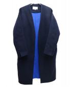 ENFOLD(エンフォルド)の古着「ウールリバーノーカラーコート」|ネイビー