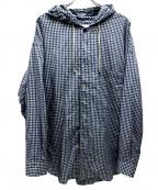 ROTOL(ロトル)の古着「マスクフードシャツ」 ホワイト×ブルー