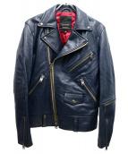 JACKROSE(ジャックローズ)の古着「シープレザーダブルライダースジャケット」|ネイビー