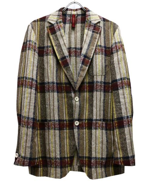 ernesto(エルネスト)ernesto (エルネスト) チェックリネンテーラードジャケット ベージュ サイズ:48の古着・服飾アイテム