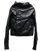 RICK OWENS(リックオウエンス)の古着「ニット切替レザージャケット」|ブラック