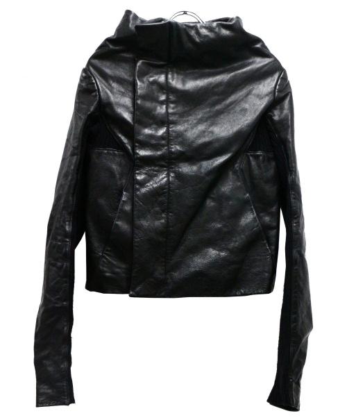 RICK OWENS(リックオウエンス)RICK OWENS (リックオウエンス) ニット切替レザージャケット ブラック サイズ:ITA40 秋物の古着・服飾アイテム