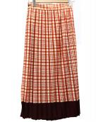 beautiful people(ビューティフルピープル)の古着「シアーウールチェックプリーツスカート」|レッド