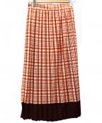 beautiful people(ビューティフルピープル)の古着「シアーウールチェックプリーツスカート」 レッド