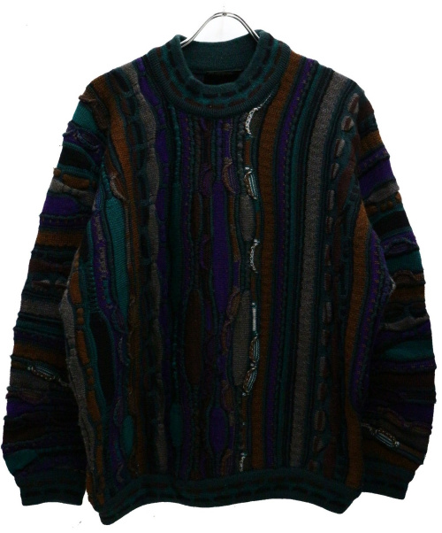 Coogi(クージー)Coogi (クージー) 【古着】3Dクレイジーパターンニット グリーン サイズ:Sの古着・服飾アイテム