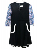 mame kurogouchi(マメ クロゴウチ)の古着「チュールエンブロイダリースリーブドレス」|ブラック