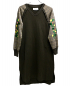 MUVEIL(ミュベール)の古着「花畑刺繍入りポンチワンピース」|グレー