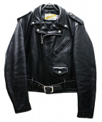 SCHOTT BROS.(ショットブロス)の古着「レザーダブルライダースジャケット」 ブラック