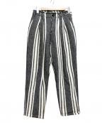 KURO(クロ)の古着「ストライプパンツ」|ブラック×ホワイト