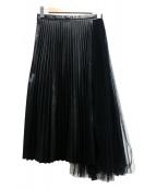 TARO HORIUCHI(タロウホリウチ)の古着「レース切替レザースカート」|ブラック