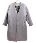 Snidel(スナイデル)の古着「ノーカラーウールコート」|ピンク