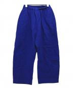 ゴーシュ(ゴーシュ)の古着「リネンコットンスラブカーブワイドパンツ」|ブルー
