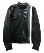 BELSTAFF()の古着「ラインカウレザーシングルライダースジャケット」|ブラック