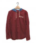 SUPREME()の古着「デニムフーデッドベースボールシャツ」 レッド