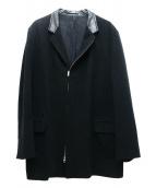 YS for men(ワイズフォーメン)の古着「レザーコットンカラー切替チェスターコート」|ブラック