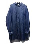 Edwina Horl(エドウィナホール)の古着「サイドスリットロングシャツ」|インディゴ