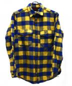 freewheelers(フリーホイーラーズ)の古着「ヘビーオンスブロックチェックネルシャツ」 イエロー×ブルー