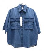 CHALLENGER(チャレンジャー)の古着「S/Sヘンプシャツ」 ブルー