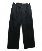 CLANE HOMME(クラネ オム)の古着「2タックワイドパンツ」|ブラック