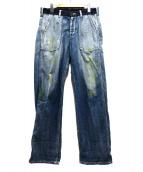 YohjiYamamoto pour homme(ヨウジヤマモトプールオム)の古着「ペンキ加工デニムパンツ」 インディゴ