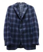 DEPETRILLO(デペトリロ)の古着「3Bウールチェックジャケット」|ネイビー