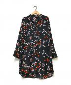 marimekko(マリメッコ)の古着「シルクブラウスワンピース」|ブラック
