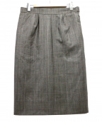 HERMES()の古着「ウールチェックタイトスカート」 ブラウン