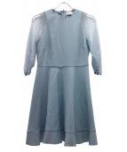 ()の古着「袖チュールワンピース」|スカイブルー