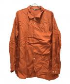 BED J.W. FORD(ベッドフォード)の古着「ビックポケットデザインシャツ」|オレンジ