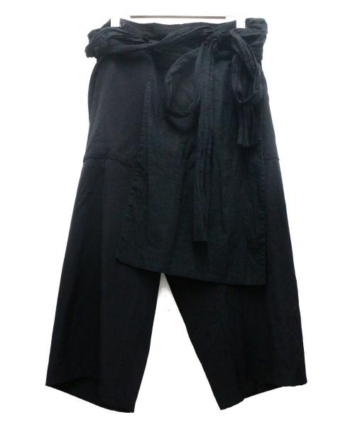 YohjiYamamoto pour homme(ヨウジヤマモトプールオム)YohjiYamamoto pour homme (ヨウジヤマモトプールオム) 腰巻き左前垂らしパンツ ブラック サイズ:2の古着・服飾アイテム