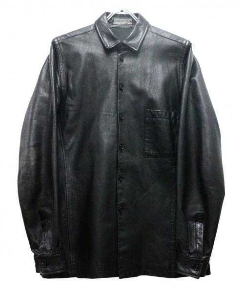 YohjiYamamoto pour homme(ヨウジヤマモトプールオム)YohjiYamamoto pour homme (ヨウジヤマモトプールオム) レザーシャツジャケット ブラック サイズ:Mの古着・服飾アイテム