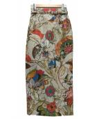 DOUBLE STANDARD CLOTHING(ダブルスタンダードクロージング)の古着「花柄ジャガードタイトスカート」|ベージュ