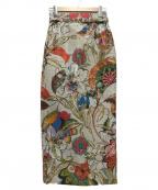 DOUBLE STANDARD CLOTHING(ダブルスタンダードクロージング)の古着「花柄ジャガードタイトスカート」 ベージュ