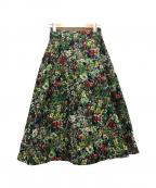 Sov.(ソブ)の古着「フラワージャガードスカート」|グリーン