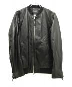 ()の古着「ラムレザーシングルライダースジャケット」|ブラック