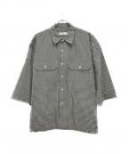 UNFIL(アンフィル)の古着「ウォッシュドコットンギンガムオープンカラーシャツ」|ブラック×ホワイト