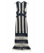 SELF PORTRAIT(セルフ ポートレイト)の古着「ノースリーブフリンジニットワンピース」|ネイビー