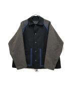 ()の古着「ウールポリエステルコーチジャケット」 ネイビー
