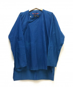Leh()の古着「ムラ染め作務衣シャツ」 ブルー