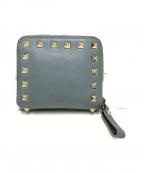 VALENTINO GARAVANI(ヴァレンティノ・ガラヴァーニ)の古着「2つ折りスタッズ財布」|ブルー