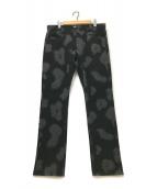 ()の古着「ダークシャドウフランネル5ポケットパンツ」|ブラック×グレー