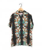 Aloha Blossom(アロハブロッサム)の古着「マーメイドプリントアロハシャツ」 ブラック