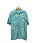 Aloha Blossom(アロハブロッサム)の古着「音符プリントアロハシャツ」 スカイブルー